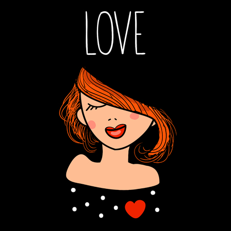 rouge: Vector illustration of a fashion beautiful redhead girl in love. Hand drawn card with enamored woman and text love. Illustration