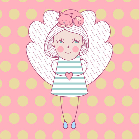 Cute girl with wings and with cat on her head. Vector illustration love card with angel and cat.