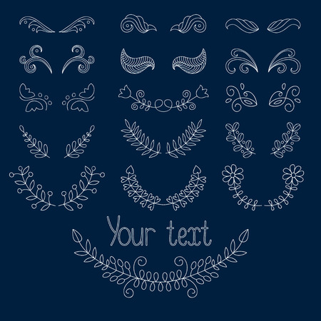 Big set of calligraphic design elements and page decoration with laurels, wreaths, calligraphic lines dividers.