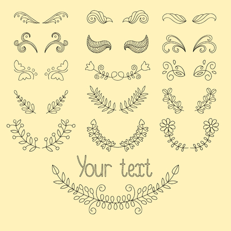 dingbats: Big set: calligraphic design elements and page decoration with laurels, wreaths, calligraphic lines dividers. Hand drawn design elements