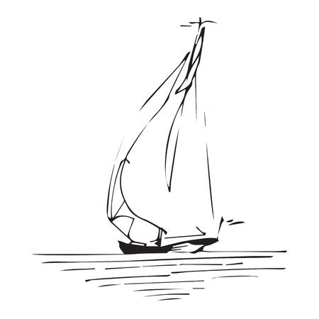 Zeilschip of boot in de oceaan in inkt lijn stijl. Hand geschetste jacht. Mariene thema ontwerp. Stock Illustratie