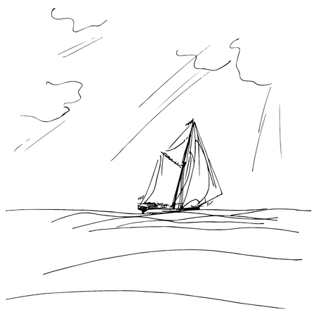schooner: Sailing ship or boat in the ocean in ink line style. Hand sketched yacht. Marine theme design.