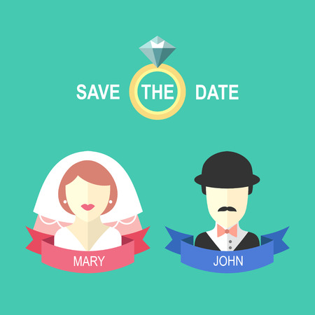 Wedding romantic invitation card with ribbon, ring, bride and groom in flat style. Save the Date invitation