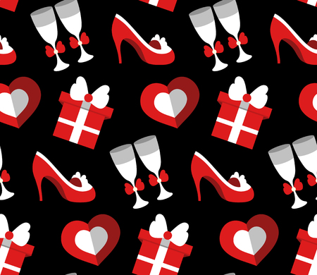Wedding celebration seamless pattern with shoes, gift, heart, stemware. Holidays endless background in flat style