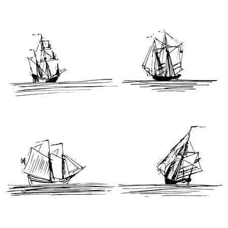 Illustration vectorielle de voiliers ou de bateaux en mer. Goélettes esquissées à la main, brigantins. Conception de thème marin.