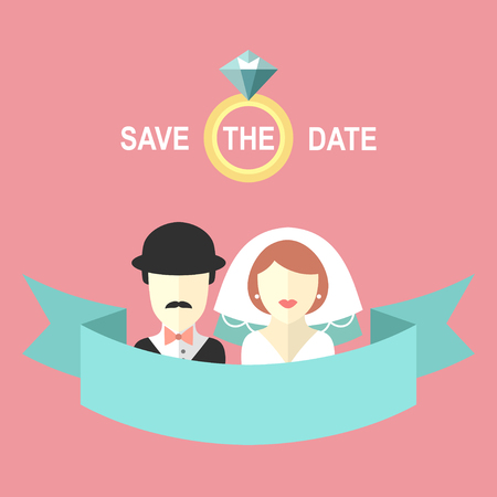 Wedding romantic invitation card with ribbon, ring, bride and groom in flat style. Save the Date invitation in vector.