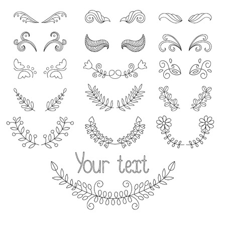dingbats: Big vector calligraphic collection and page decoration with wreaths, lines dividers. Hand drawn design elements. Illustration