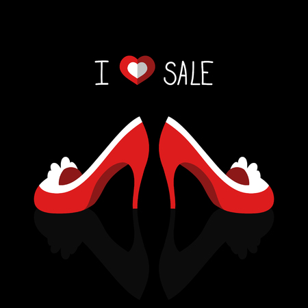 Beautiful vector fashion card with heart, shoes, and text I love sale. Çizim