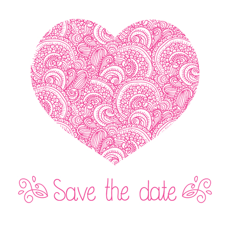 Pink wedding romantic invitation card with hand drawn paisley heart. Save the Date invitation in vector. Ilustração