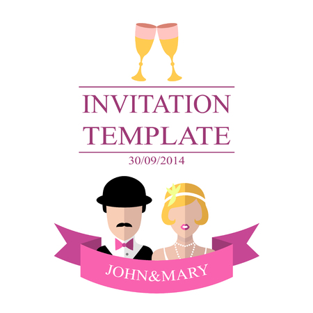 Wedding romantic invitation card with ribbon, ring, bride and groom in flat style. Vector Save the Date invitation.