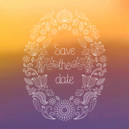 Vector wedding invitation card in floral frame and text save the date on blurred background.