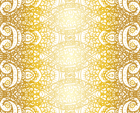 Gold and white ethnic tribal abstract seamless background pattern in vector.
