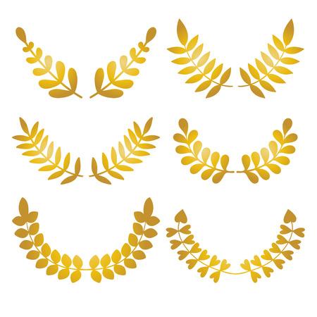 Vector set of golden design floral laurels isolated on white background. Illustration
