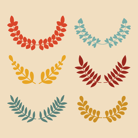 Vector Set Of Different Floral Wheat Laurels And Wreaths Illustration