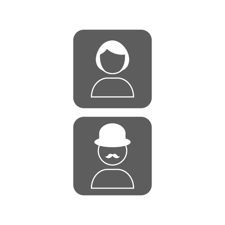 unknown gender: Vector icon male and female profile picture in trendy flat style. Unknown user avatars. Illustration
