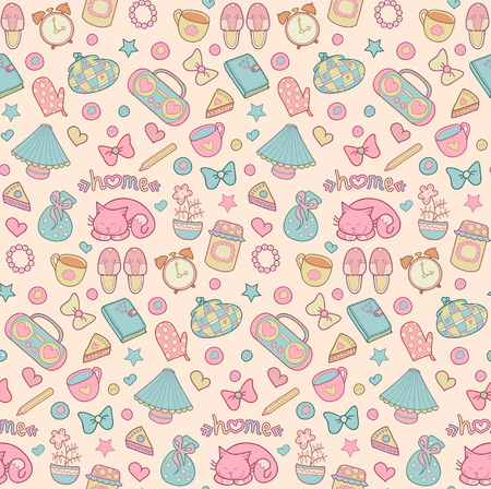 Sweet Home vector seamless pattern. Set of vector design home elements with cute cat, cups of coffee, alarm clocks etc.