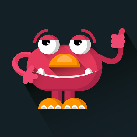 horn like: Vector cute pink funny Monster in trendy flat style.