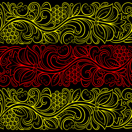 Traditional Russian vector seamless pattern in khokhloma style.