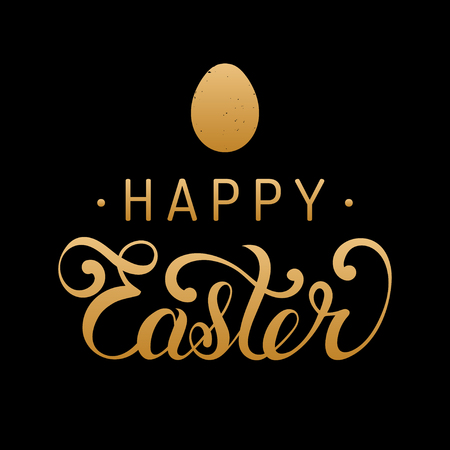 Happy Easter type greeting card with egg. Religious vector illustration in gold and black colors for poster, flyer.