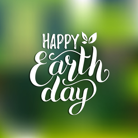happy: Happy Earth Day hand lettering card on blurred background. Vector illustration with leaves for banner, poster.