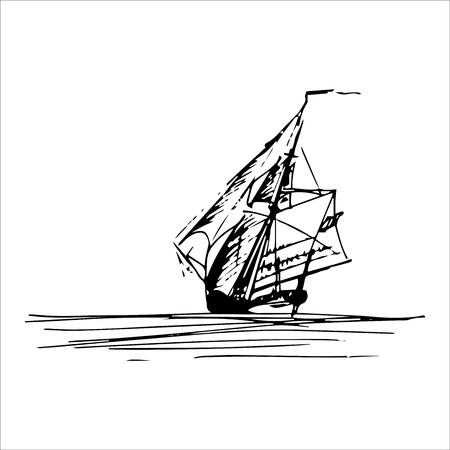 Voilier dans l'océan dans le style de ligne d'encre. Goélette esquissée à la main ou sloop. Conception de thème marin.