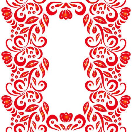 Traditional Russian vector pattern frame with place for text in khokhloma style. Can be used for banner, card etc. Illustration