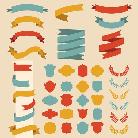 Beg vector set of ribbons, laurels, wreaths and labels in flat style. Ilustração