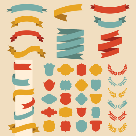 Beg vector set of ribbons, laurels, wreaths and labels in flat style. Stock Illustratie