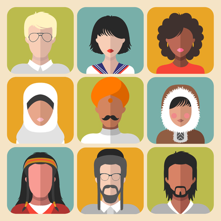 latin american boys: Vector set of different nationality man and woman icons in trendy flat style.