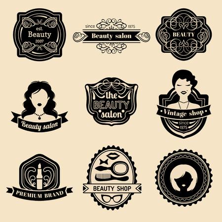 Conjunto de vector de insignia de mujer de moda de salón de belleza o tienda de cosecha. Colección de iconos retro en estilo plano.