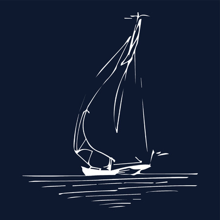 Sailing boat or ship in the ocean in ink line style. Vector hand sketched yacht. Marine theme design. Vettoriali