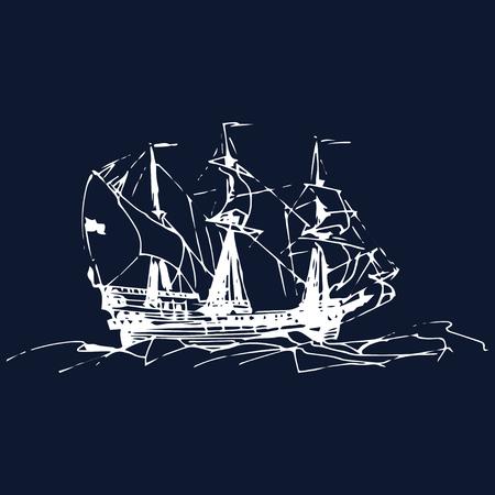 Nautisme à voile dans l'océan à la ligne d'encre. Vecteur dessiné à la main d'un ancien navire de guerre. Conception de thème marin.