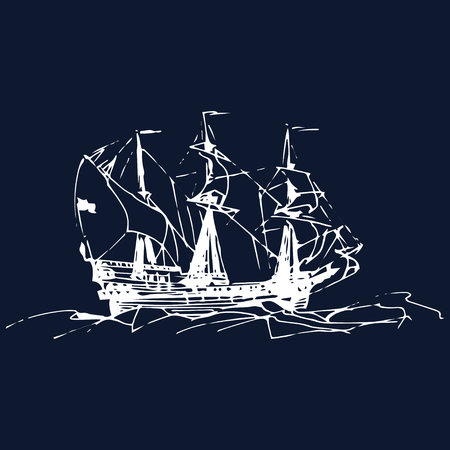 Sailing galleon ship in the ocean in ink line style. Vector hand sketched old warship. Marine theme design.