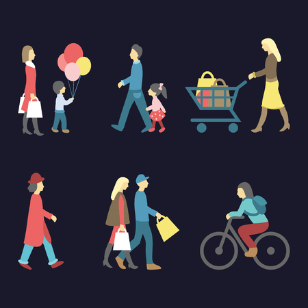 mujer en el supermercado: Vector set of walking and shopping people icons in trendy flat style. Collection of different man, woman, child images.