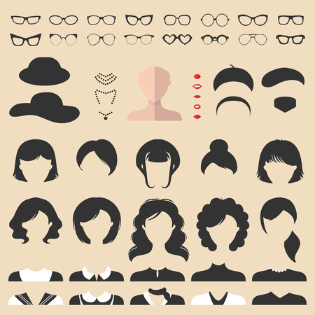 glasse: Big vector set of dress up constructor with different woman haircuts, glasse etc. Female faces icon creator.