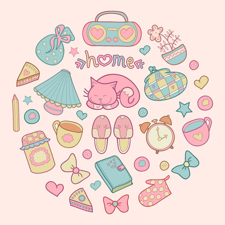 Sweet Home, set of vector design home elements, cute cat, cups of coffee, cake, jam, sneakers, alarm clocks etc.