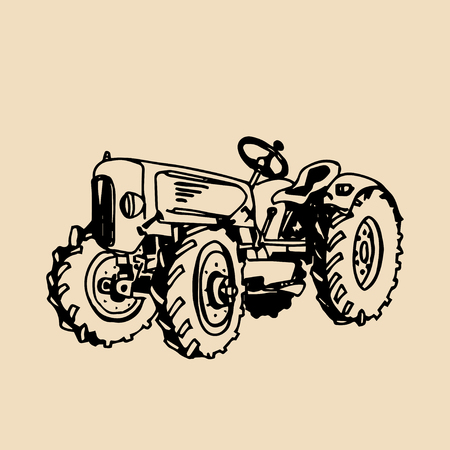 Vector illustration of retro tractor in hand sketched style. Farm fresh logotype. Organic products badge. Eco food sign.