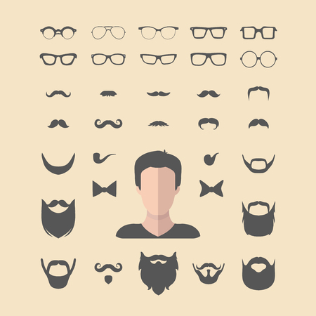 adolescent: Big vector set of dress up constructor with different men glasses,beard,mustache,wear in flat style. Faces icon creator. Illustration