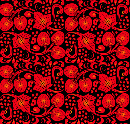 Traditional Russian vector seamless pattern in khokhloma style. Can be used for banner, card, poster, invitation etc.