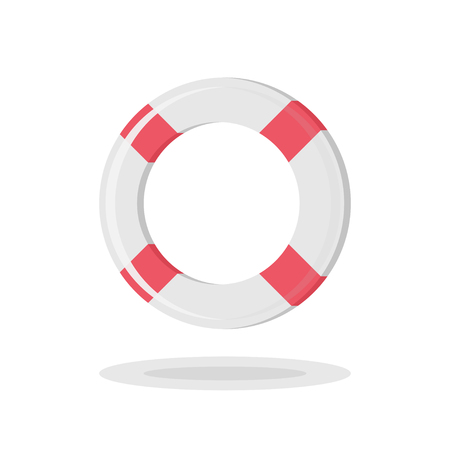 Vector illustration of a lifebuoy in trendy flat style.