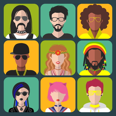 subcultures: Vector set of different subcultures man and woman app icons in trendy flat style. Goth, raper, hippy, hipster,raver etc. Illustration