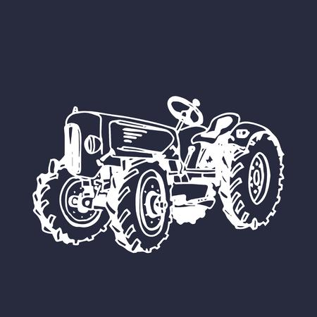 Illustration vectorielle du tracteur agricole rétro à la main. Affiche biologique de produits biologiques. Signe alimentaire écologique.
