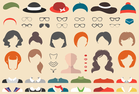 Big vector set of dress up constructor with different woman haircuts, glasses, lips, wear etc. Female faces icon creator Illustration