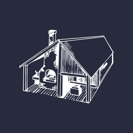 Vector hand drawn detailed illustration of blacksmith workshop house.
