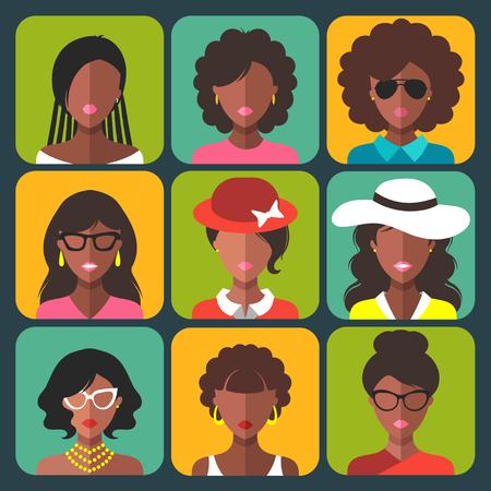 Jeu de différentes icônes d'application femme afro-américaine en mode plat branché