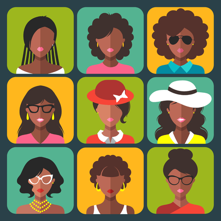 Vector set of different african american woman app icons in trendy flat style