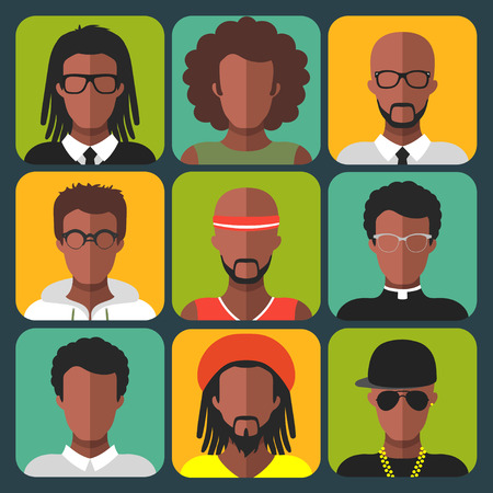 Vector set of different african american women and man app icons in trendy flat style Ilustração