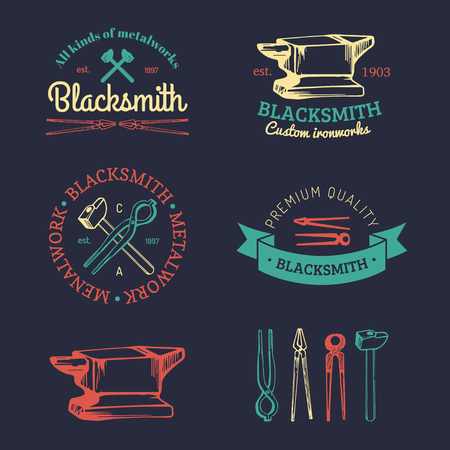 cast iron: Vector set of hand sketched blacksmith logos. Vintage farrier labels collection