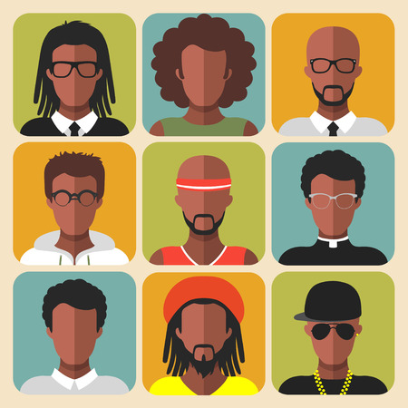 Vector set of different african american man app icons in trendy flat style