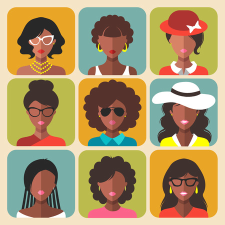 Vector set of different african american woman app icons in trendy flat style Vetores